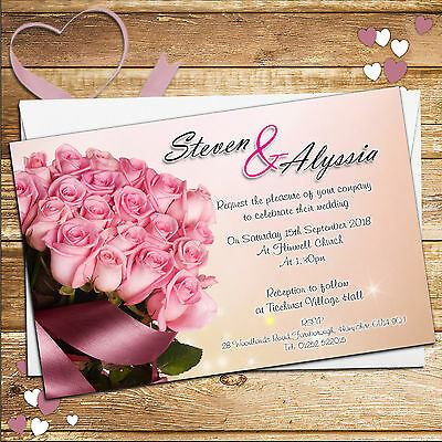 100 Personalised Pink Rose Wedding Invitations Invites Day or Evening No58