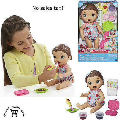Baby Alive Doll Super Snacks Snackin' Lily Brunette Girl Kid Toy & Accessories