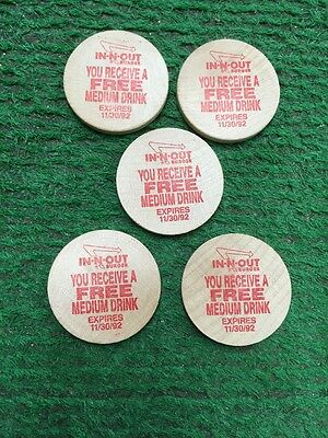 LOT OF 5 WOODEN  IN-N-Out BURGER TOKENS (FREE MEDIUM DRINK)