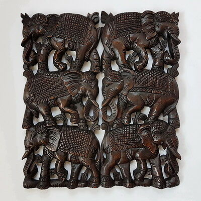 Hand Carved Wall Sculpture Hanging Teak Wood Elephants Stack Wooden Home Decor