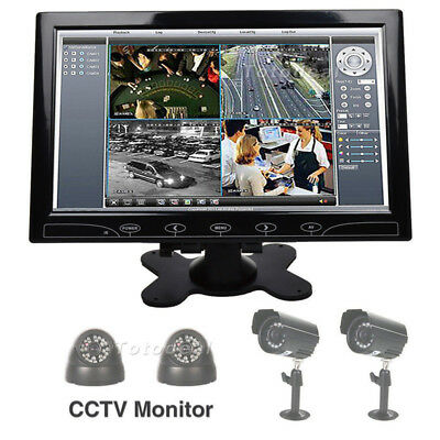 10 Inch TFT LCD Color Display Screen CCTV PC Monitor Remote Control w/ Speaker