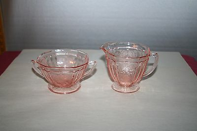 Pink Depression Hocking Glass Mayfair Open Rose Footed Sugar Bowl & Creamer