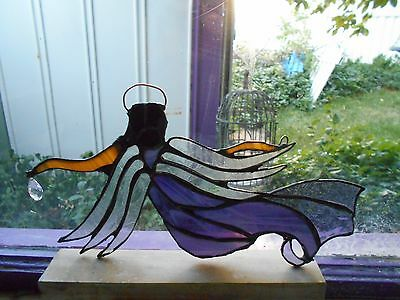 REAL STAINED GLASS WINDOW GUARDIAN ANGEl PURPLE ARTIST SIGNED