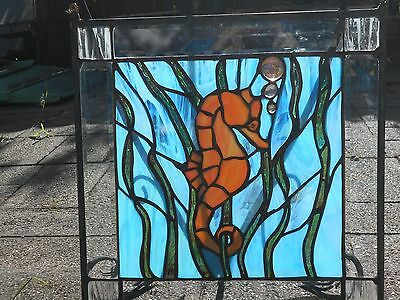 "SEAHORSE  17 1/2 X 18"" IRIDESCENT BLUE STAINED GLASS WINDOW panel suncatcher"
