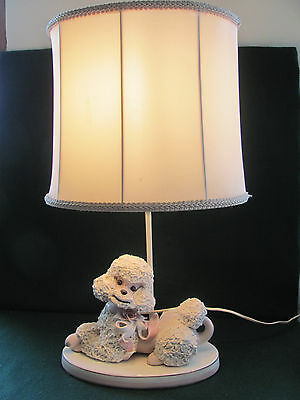 Vtg 50's White Spaghetti Poodle Table Lamp W Pink Accents