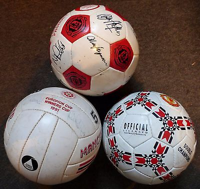 3 Signed Manchester United Footballs From 1990,1991,1993/94 + Photo's