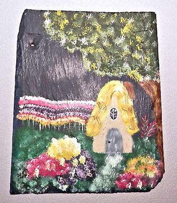 "painted slate - Victorian style - 7"" X 8.5"" roofing slate antique piece"