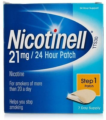 3 x NICOTINELL 21mg - 24 HOUR PATCH - STEP 1 (21 day supply) - EXPIRY 2018 - NEW