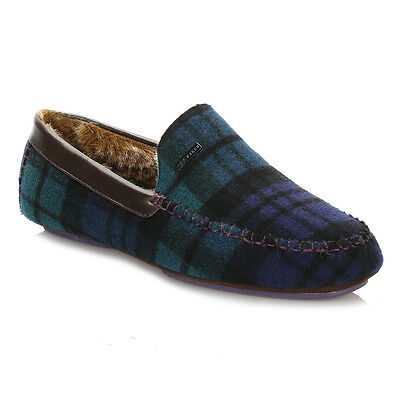 Ted Baker Mens Slippers Dark Green/Blue Moriss Suede Slip On Home Casual Shoes