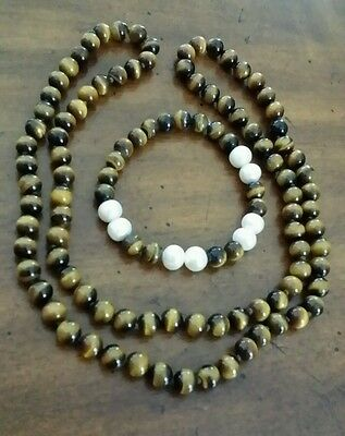 30in Tigers eye 7mm bead necklace,  with pearl and tiger eye bracelet