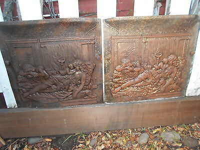Pair of Antique Victorian Fireplace Covers/Doors Copper/Brass Plated