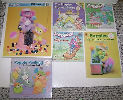 6 Vintage Popples Books Lift & Look Coloring Frame Tray Puzzle 1980's