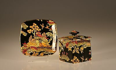 "Royal Winton "" Pekin Black"" Chintz Square Jam Pot with Lid and Underplate"