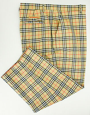 Womens Golf Pants Burberry Nova Check Capri Pant Black Tan Tag Size 12 Plaid
