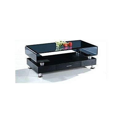 Black Coffee Table Glass Top Chrome Legs With Drawer Living Room