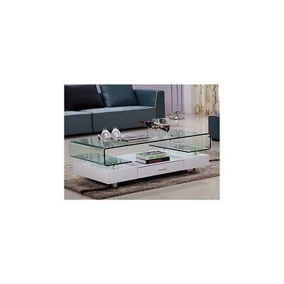 Gloss White Coffee Table Glass Top Chrome Legs With Drawer Living Room