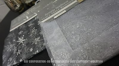 luxury voile glitter table runner-2 COLOURS-SILVER/CHARCOAL 183X33 CM SNOWFLAKE