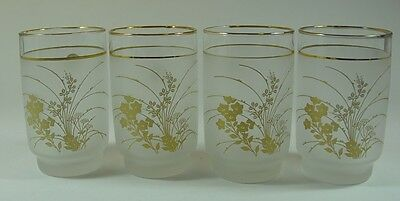 4 Vintage Japanese Sasaki Drinking Glasses Frosted and Gold Motif with Labels