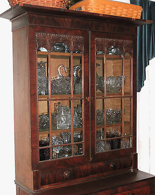 "Part- c1820 Federal, Empire secretary desk bookcase top, mah, carved, brass,36""w"
