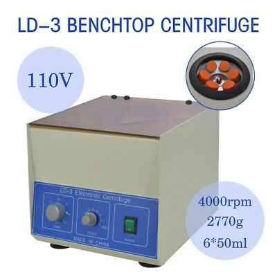 New LD-3 Electric Benchtop Centrifuge Lab Medical Practice 4000rpm 6*50ml
