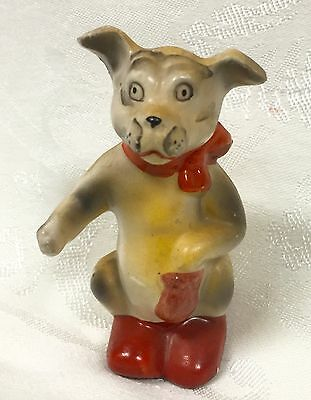 Vintage Ceramic Japan Dog Figurine Character Dog With Red Scarf And Red Shoe