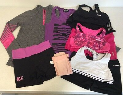 Lot 10 Dance Wear Reebok Justice Girl's Sports Bra Booty Shorts Tanks M L 10/12