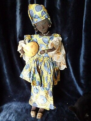 Unusual Vintage Handmade African Cloth Rag Doll - 2' high
