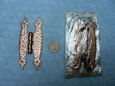 Copper Hammered H Hinges Cabinet NOS Ajax Vintage