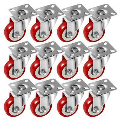 12 Pack 2 Inch Caster Wheels Swivel Plate On Red Polyurethane Wheels PU 780LB