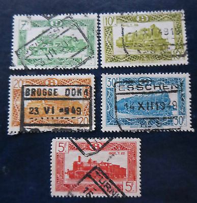 Old Belgium   Used  Stamps With Trains + Cancels