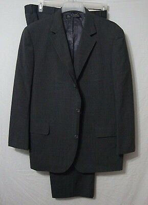 Brooks Brothers Men's Three Button Suit Gray 100% Wool 44R 42 x 28 Coat & Pants