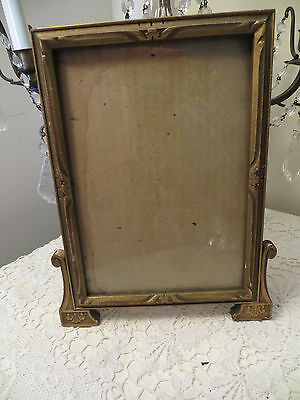 Antique Gold Carved Wood Picture Frame Photo Size 7 X 10 Self Standing Easel