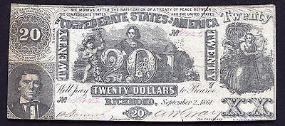 T-20 1861 $20 Twenty Dollars Csa Confederate States Of America