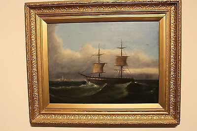 Oil on canvas painting by The English Marine School 19th Century vessel at sea