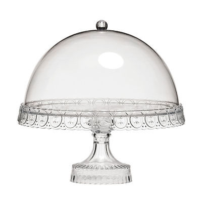 Clear Acrylic 4 In 1 Cake Stand & Dome Lid Chip & Dip Dish Decorative Tableware