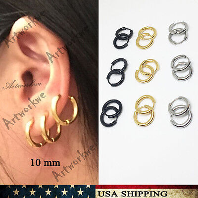 3Pairs Mens/Womens 3Colors Stainless Steel Tube Hoop Ear Ring Stud Earrings 10mm