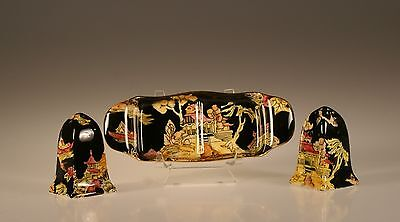 Royal Winton Pekin Black Chintz with Gold Trim Salt and Pepper Shakers w/Tray