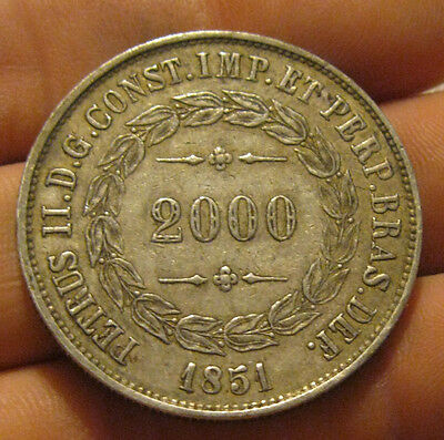 Brazil - 1851 Large Silver 2000 Reis - Nice Coin!