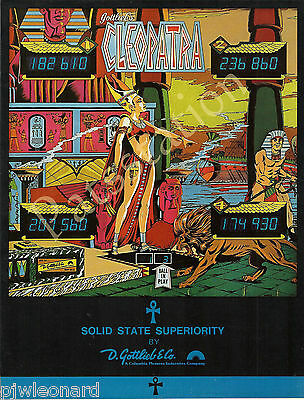 CLEOPATRA, Solid State - 1977 Gottlieb Pinball Flyer