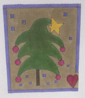 Petit Point 18 Pt Hand Painted Needlepoint Canvas Xmas Tree Heart Star Whimsical