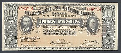 Mexico CHIHUAHUA  10 Pesos 1914 Ps535 Issued Notes AUNC-UNC