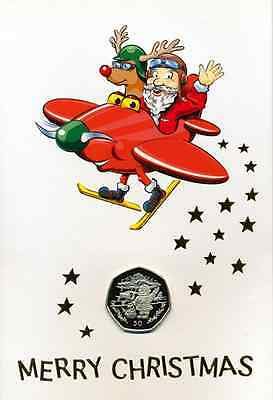 Sale Gibraltar 50 Pence Xmas Santa Claus And Biplane In Card 1996 Bunc