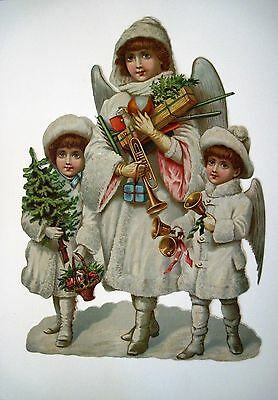 Large Vintage Victorian Christmas Die Cut w/ 3 Angels w/ Bells,Tree & Gifts *
