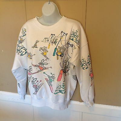 Vintage Bunnies Hit The Slopes Sweatshirt // Adult Large // 80S Style