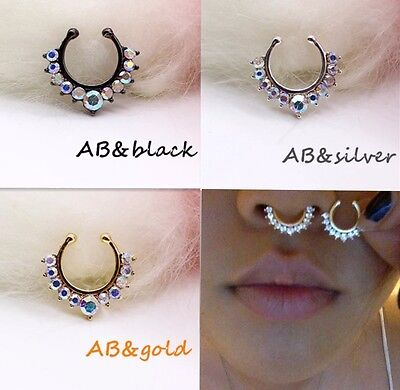 Fake Septum Nose Ring Cuff Crystal Gem Clip-on Non Pierced Gold Silver Ab UK