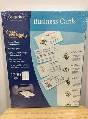 Geographics White Business Cards (1000 Count) New Inkjet Laser Copier Heavy