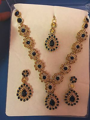 New Bollywood Indian Costume Jewellery Set Gold base Party Wear set with pearl