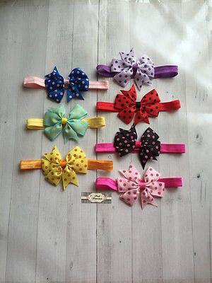 "Baby Headband 7pc Set 3"" Bow Headband, Shower Gift"