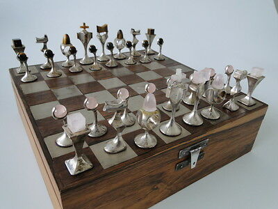 Chess, échecs, ajedrez, art-deco, silver, with stones rose quartz and tiger eye