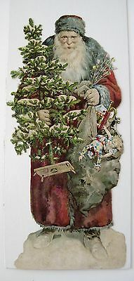"""Large """"VERY RARE"""" Vintage Victorian Christmas Die Cut w/ Father Christmas *"""